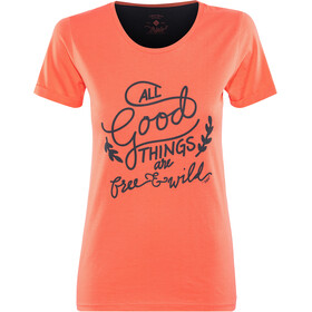 Triple2 Laag Handwrite T-Shirt Women Damen living coral